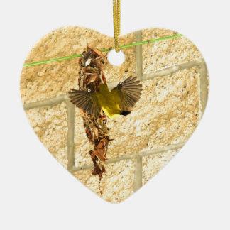 OLIVE UNTERSTÜTZTES SUNBIRD QUEENSLAND AUSTRALIEN KERAMIK Herz-Ornament