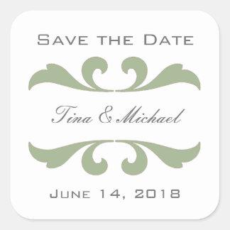 Oliven-Save the Date Aufkleber und Siegel