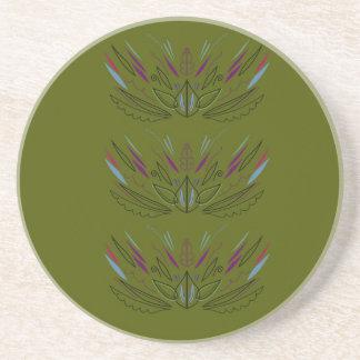 Oliven-Vintages Entwurf ethno Sandstein Untersetzer