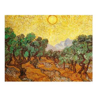Olivenbäume gelber Himmel u Sun F710 Van Gogh Postkarte