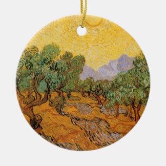 Olivenbäume, gelber Himmel und Sun, Vincent van Keramik Ornament