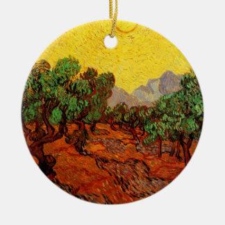 Olivenbäume Van Gogh mit gelbem Himmel Sun, schöne Keramik Ornament