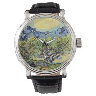 Olivenbäume Van Gogh, Vintage feine Kunst Uhr