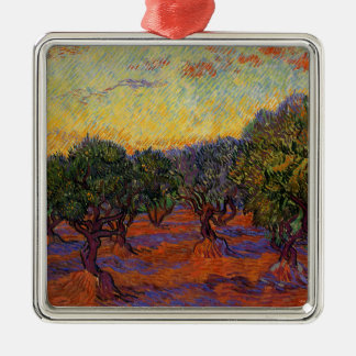 Olivenbäume - Vincent van Gogh Quadratisches Silberfarbenes Ornament