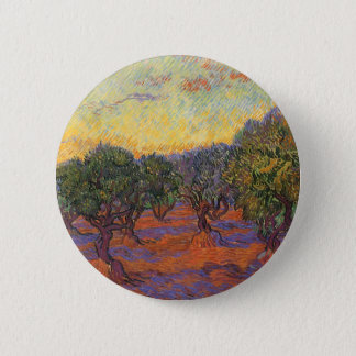 Olivenhain, orange Himmel durch Vincent van Gogh Runder Button 5,1 Cm
