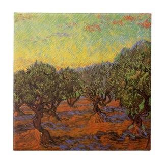 Olivenhain-orange Himmel Van Gogh, Vintage feine Keramikfliese