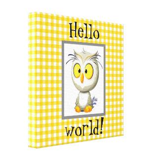 Oliver-Eulen-Baby-Decken-Gelb-graues Weiß Leinwanddruck
