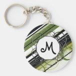 Olivgrün-Modern-Retro Streifen mit Monogramm Schlüsselanhänger