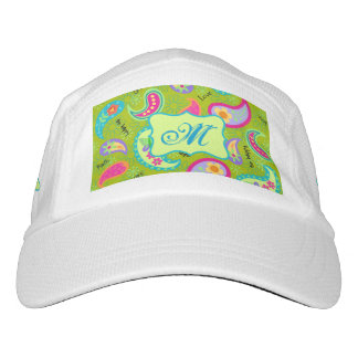 Olivgrün-moderne Paisley-Monogramm-Initiale Headsweats Kappe
