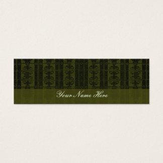 Olivgrün-schwarzes elegantes Muster Mini Visitenkarte