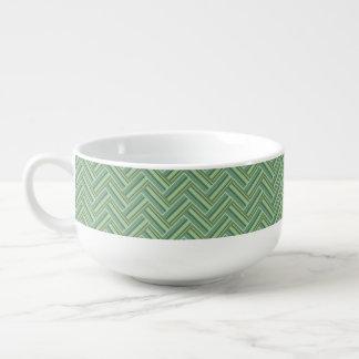 Olivgrün stripes doppelte Webart Große Suppentasse