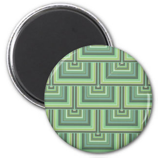 Olivgrün stripes quadratisches Skalamuster Runder Magnet 5,7 Cm