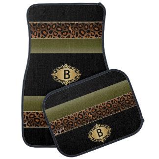 Olivgrün und Monogramm des Leopard-Tierdruck-| Automatte
