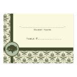 Olivgrüne Damast-Eichen-Hochzeits-Sitzplatz-Karte Visitenkarten Vorlagen