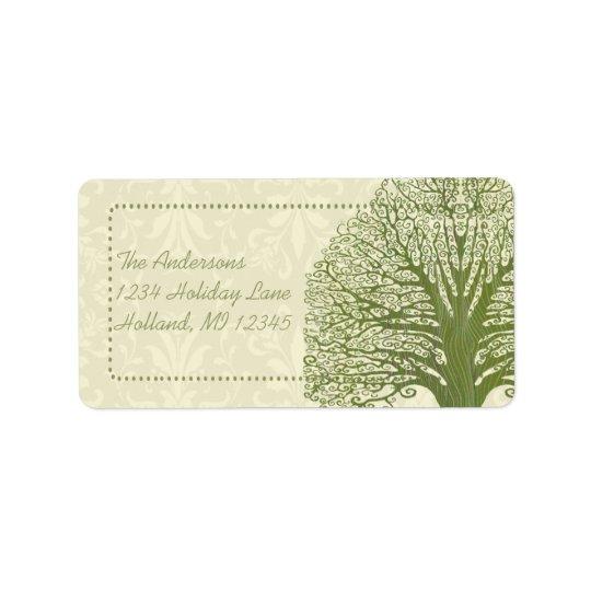 Olivgrüner Strudel-wunderlicher Adressaufkleber