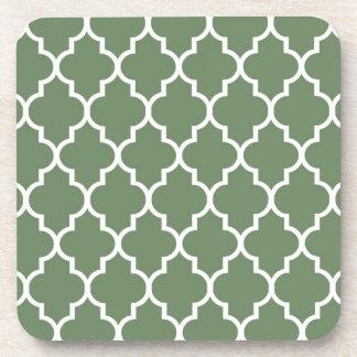 Olivgrünes Marokkaner Quatrefoil Muster Untersetzer
