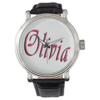 Olivia, Name, Logo, große schwarze lederne Uhr