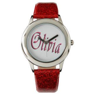 Olivia, Name, Logo, Mädchen-rote Glitter-Uhr Uhr