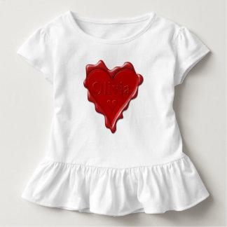 Olivia. Rotes Herzwachs-Siegel mit Namensolivia Kleinkind T-shirt