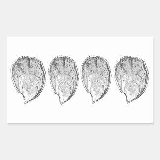 Olympia-Austern-Illustration Rechteckiger Aufkleber
