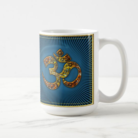 OM (AUM - ICH BIN) - XL - Gold Rahmen - blau Kaffeetasse