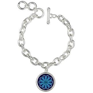 OM-Beschwörungsformel-blaues Herz-Charme-Armband Armbänder