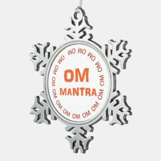OM-Beschwörungsformel OmMANTRA Emblem-Schneeflocke Schneeflocken Zinn-Ornament