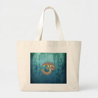 OM blue brass gold damask Asia Yoga Spiritualität Bags