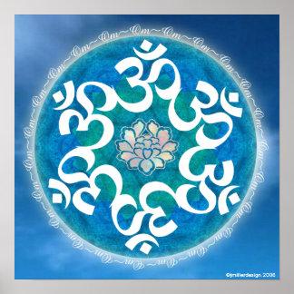 OM-Kreis-Schneeflocke-Mandala Poster