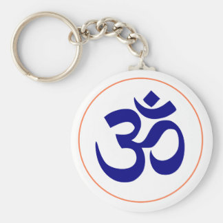 Om oder OM-Symbol (blau mit korallenrotem Ring) Schlüsselanhänger