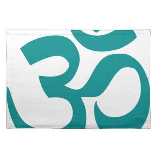 Om oder OM-Symbol (cyan-blaue Farbe, einfach, Stofftischset