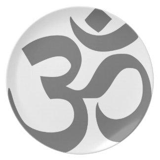 OM- oder Om-Symbol (schwarz und Grau, einfach) Teller