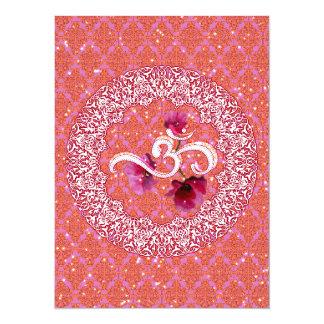 OM-OM-Yoga-Meditations-Spiritualitätrosaweiß 14 X 19,5 Cm Einladungskarte