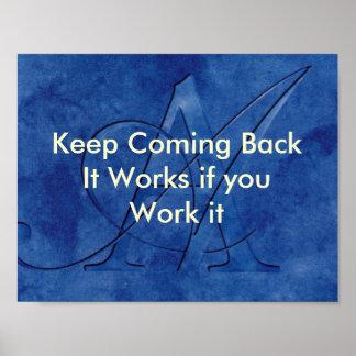 OM Slogan behalten das Zurückkommen Poster