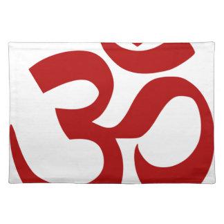 Om-Symbol (dunkelrot, minimal) Stofftischset
