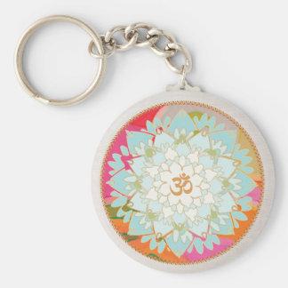 OM-Symbol-Lotus-Mandala Standard Runder Schlüsselanhänger