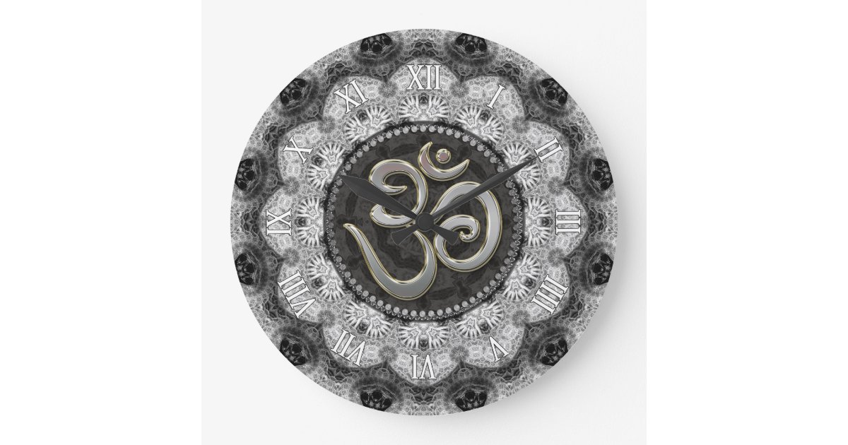 om symbol yoga schwarz wei e spitzemandala uhr gro e wanduhr zazzle. Black Bedroom Furniture Sets. Home Design Ideas