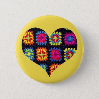 Oma-quadratischer Knopf - Herz-Häkelarbeit-Knopf Runder Button 5,1 Cm