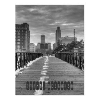 Omaha Nebraska im Schwarzen auf Weiß Postkarte