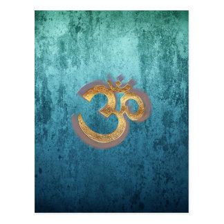 OMblaues Messinggolddamast Asien-Yoga Postkarte