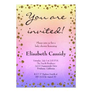 Ombre Goldconfetti-Baby-Duschen-Einladung 12,7 X 17,8 Cm Einladungskarte