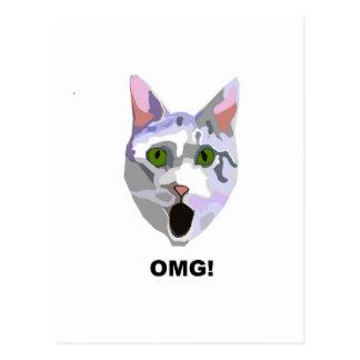 OMG! CAT 'was hat er gesehen? ' Postkarte