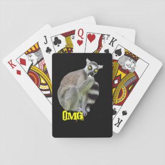 OMG lustiger Lemur mit beängstigende Spielkarten