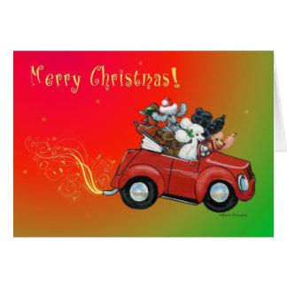 Oodles Pudel-Weihnachtsder Retro Auto-Karten Grußkarte
