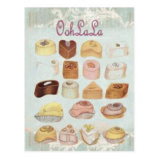 Oohlala Versuchung Vintage Schokoladen-Paris-Mode Postkarten