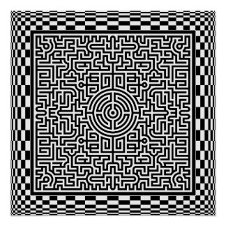 OP-Kunst Labyrinth und Schachbrett-Plakat Poster