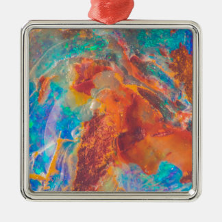 Opalachat-Marmor-Platte Quadratisches Silberfarbenes Ornament