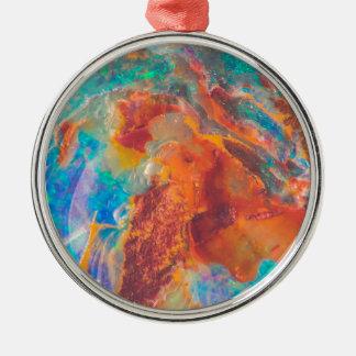 Opalachat-Marmor-Platte Rundes Silberfarbenes Ornament