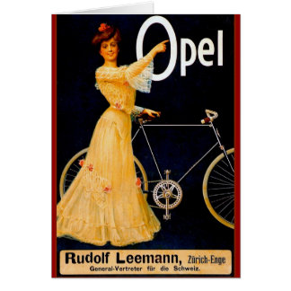 Opel fährt Vintage Anzeige rad Karte