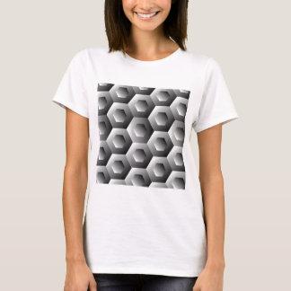OPkunst-Hexagon in den weißen und grauen Farben T-Shirt
